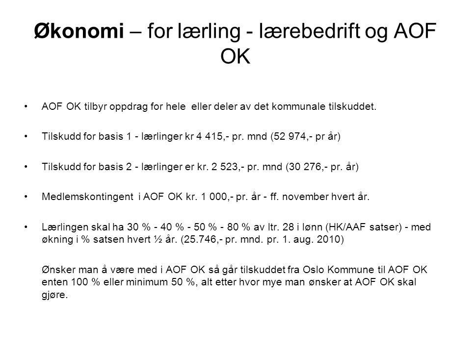 Økonomi – for lærling - lærebedrift og AOF OK AOF OK tilbyr oppdrag for hele eller deler av det kommunale tilskuddet.