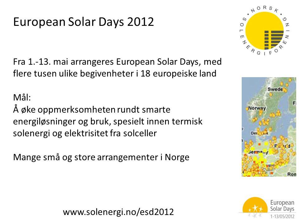 Fra 1.-13. mai arrangeres European Solar Days, med flere tusen ulike begivenheter i 18 europeiske land Mål: Å øke oppmerksomheten rundt smarte energil