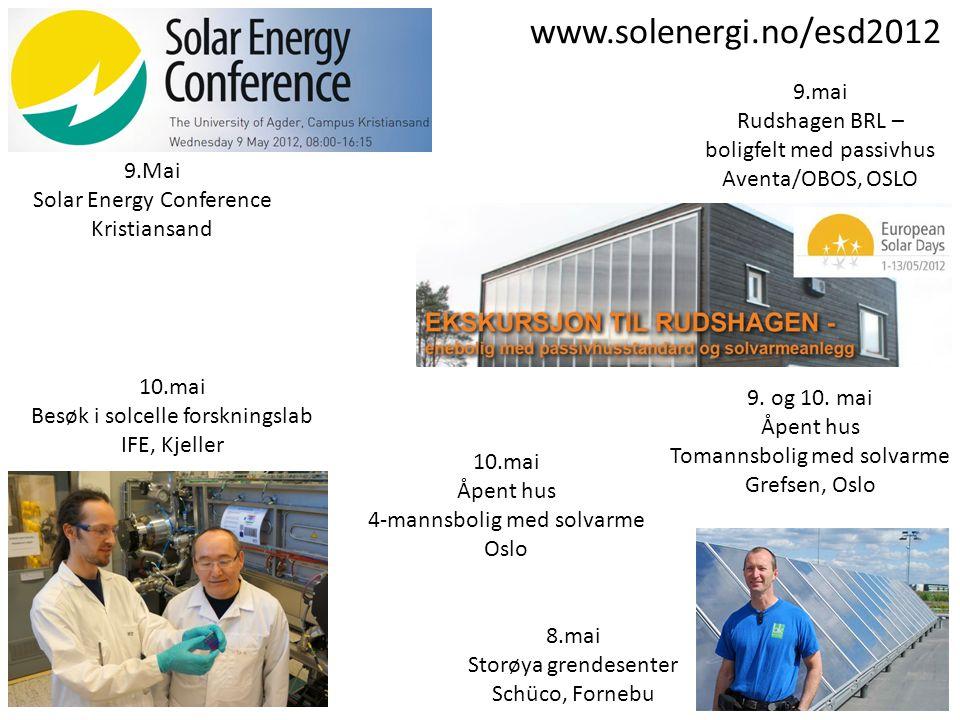 9.Mai Solar Energy Conference Kristiansand 9.mai Rudshagen BRL – boligfelt med passivhus Aventa/OBOS, OSLO 9. og 10. mai Åpent hus Tomannsbolig med so
