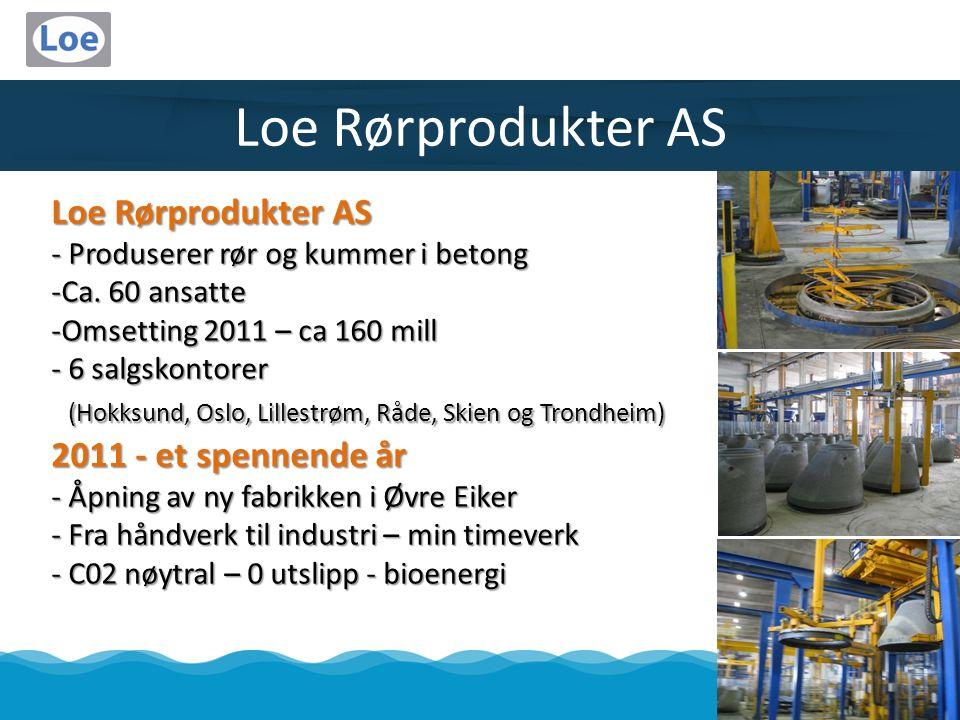 Loe Rørprodukter AS - Produserer rør og kummer i betong -Ca. 60 ansatte -Omsetting 2011 – ca 160 mill - 6 salgskontorer (Hokksund, Oslo, Lillestrøm, R