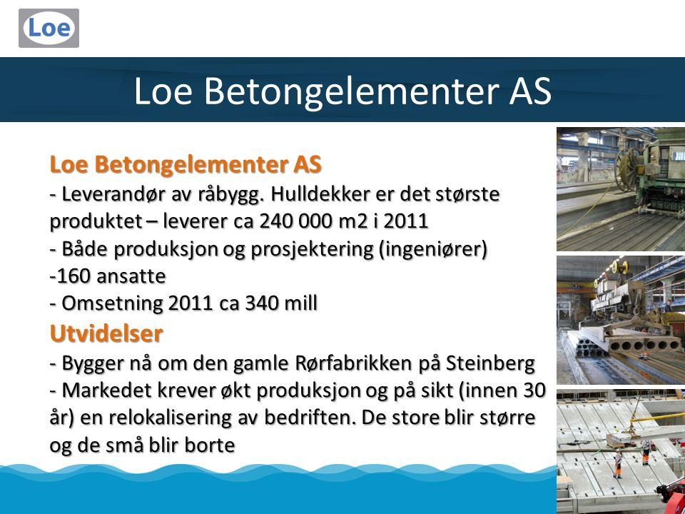 Loe Betongelementer AS - Leverandør av råbygg. Hulldekker er det største produktet – leverer ca 240 000 m2 i 2011 - Både produksjon og prosjektering (