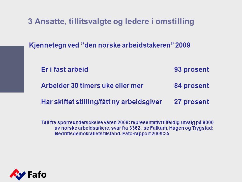 Kjennetegn ved den norske arbeidstakeren 2009 Er i fast arbeid93 prosent Arbeider 30 timers uke eller mer84 prosent Har skiftet stilling/fått ny arbeidsgiver27 prosent Tall fra spørreundersøkelse våren 2009: representativt tilfeldig utvalg på 8000 av norske arbeidstakere, svar fra 3362.