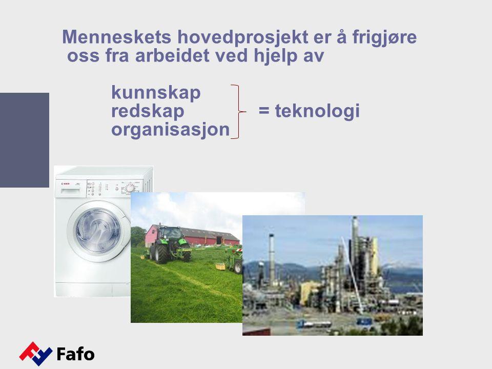 Menneskets hovedprosjekt er å frigjøre oss fra arbeidet ved hjelp av kunnskap redskap = teknologi organisasjon