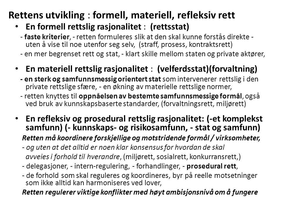 Utviklingen av en nordisk kriminologi og av en kritisk rettssosiologi – retten sett utenfra: Nils Christie: - et fokus på statens undertrykkende karakter, særlig ved bruk av fengselsstraff, - straffens karakter, - antall innsatte, - alternativ konfliktløsning: involvering og ansvar, - samfunnets repressive karakter: «hvor tett et samfunn», «hvis skolen ikke fantes», Thomas Mathiesen: - et menneskelig blikk på fanger, - viktig å ta de 'svakestes' parti, - straffens utilsiktete konsekvenser (ytterligere kriminalisering), - rettens tilsiktete og utilsiktete konsekvenser, - makt og motmakt, f.eks.