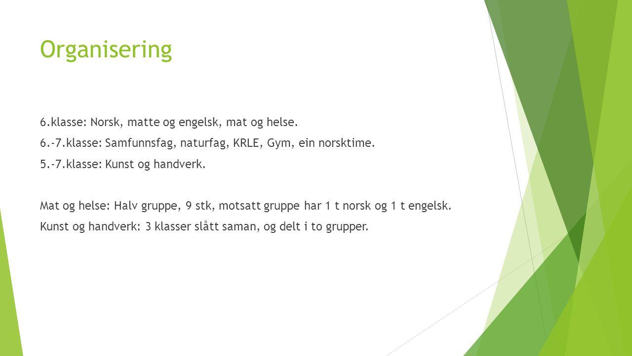 Organisering 6.klasse: Norsk, matte og engelsk, mat og helse. 6.-7.klasse: Samfunnsfag, naturfag, KRLE, Gym, ein norsktime. 5.-7.klasse: Kunst og hand