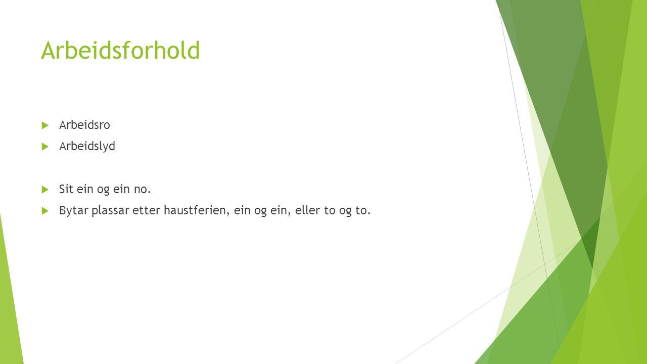 Arbeidsforhold  Arbeidsro  Arbeidslyd  Sit ein og ein no.