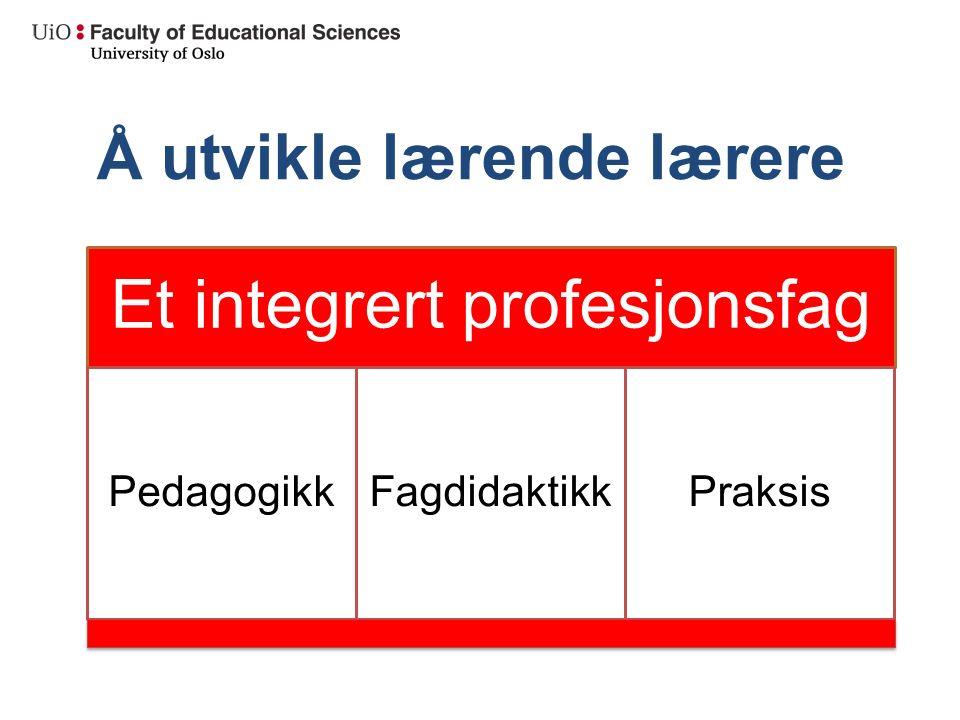 Å utvikle lærende lærere Et integrert profesjonsfag PedagogikkFagdidaktikkPraksis