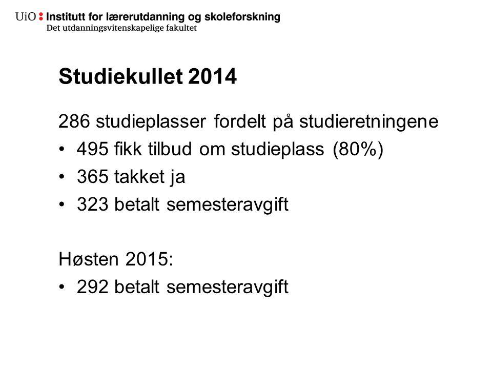 Studiekullet 2014 286 studieplasser fordelt på studieretningene 495 fikk tilbud om studieplass (80%) 365 takket ja 323 betalt semesteravgift Høsten 2015: 292 betalt semesteravgift
