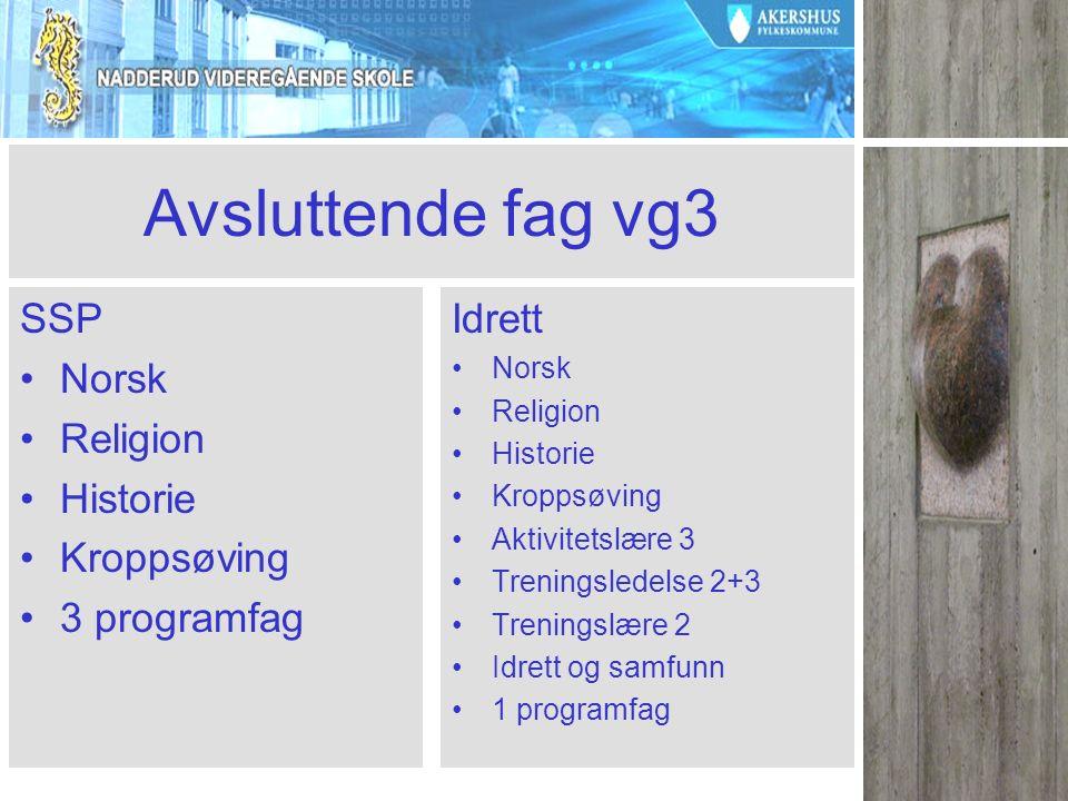 Avsluttende fag vg3 SSP Norsk Religion Historie Kroppsøving 3 programfag Idrett Norsk Religion Historie Kroppsøving Aktivitetslære 3 Treningsledelse 2+3 Treningslære 2 Idrett og samfunn 1 programfag