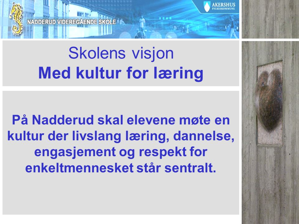 Skolens visjon Med kultur for læring På Nadderud skal elevene møte en kultur der livslang læring, dannelse, engasjement og respekt for enkeltmennesket står sentralt.