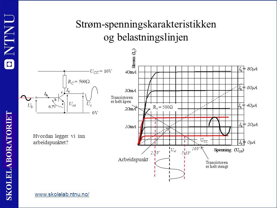 17 SKOLELABORATORIET Strøm-spenningskarakteristikken og belastningslinjen www.skolelab.ntnu.no/ R c = 500  Arbeidspunkt Transistoren er helt stengt 10V 7,5V 2,5V U ut Transistoren er helt åpen Hvordan legger vi inn arbeidspunktet.