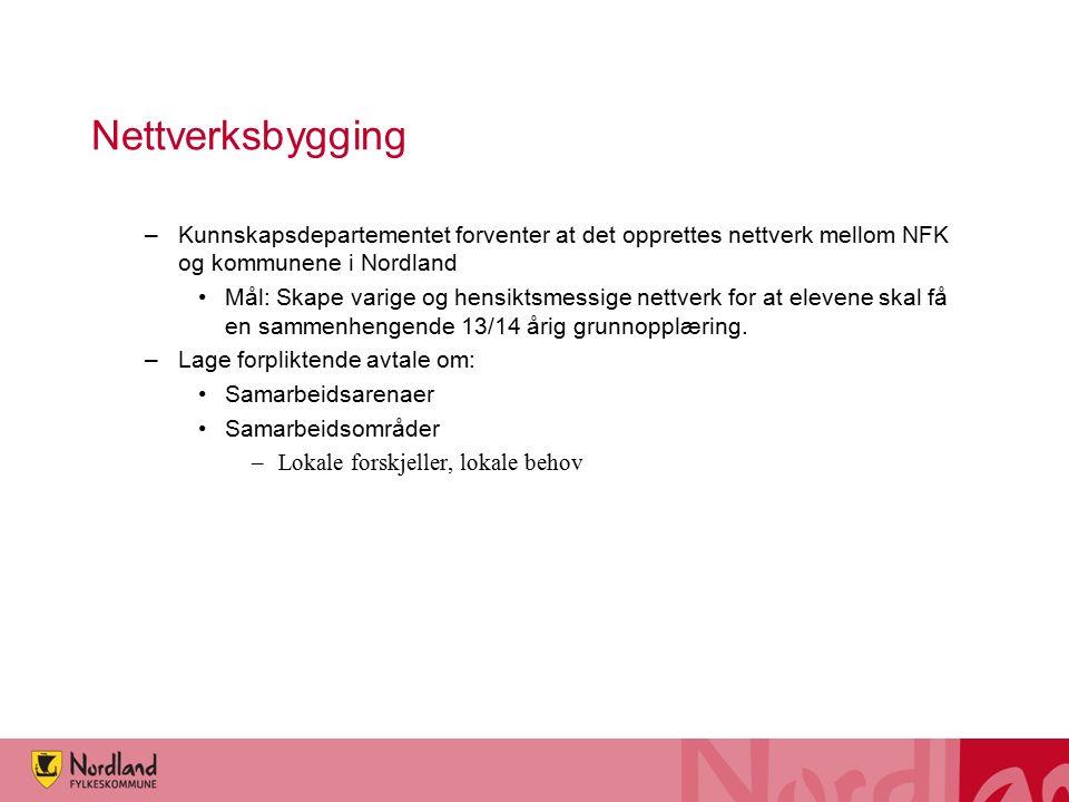 Nettverksbygging –Kunnskapsdepartementet forventer at det opprettes nettverk mellom NFK og kommunene i Nordland Mål: Skape varige og hensiktsmessige nettverk for at elevene skal få en sammenhengende 13/14 årig grunnopplæring.