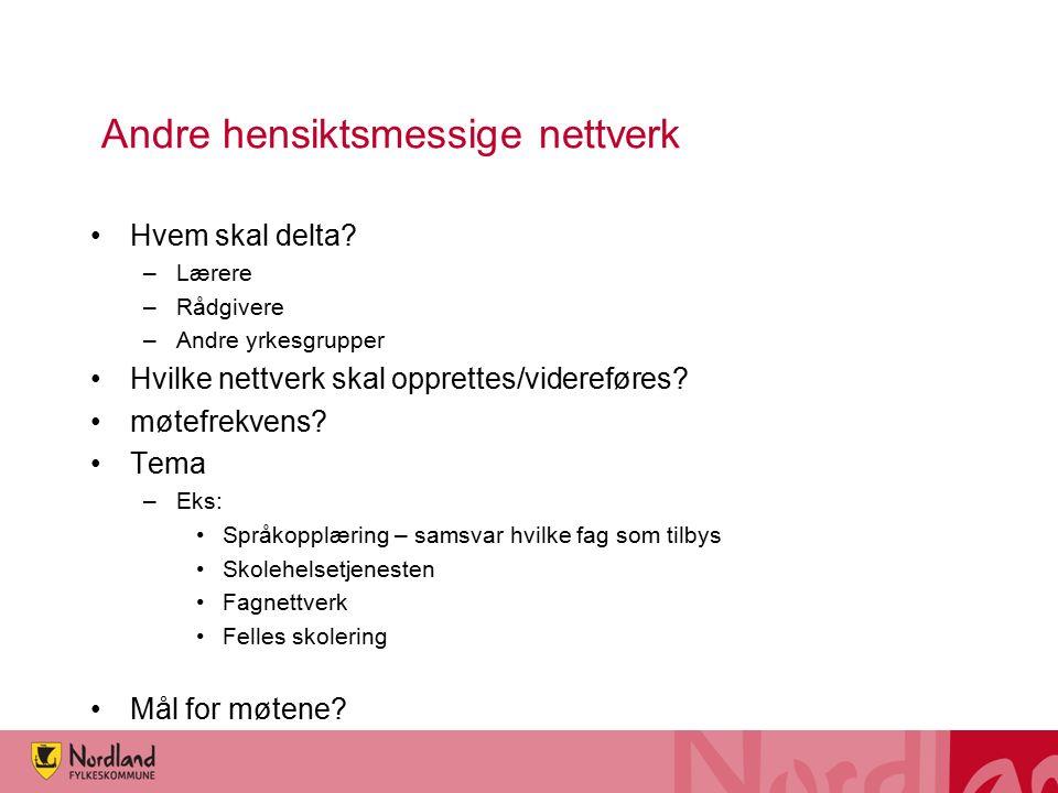 Andre hensiktsmessige nettverk Hvem skal delta? –Lærere –Rådgivere –Andre yrkesgrupper Hvilke nettverk skal opprettes/videreføres? møtefrekvens? Tema