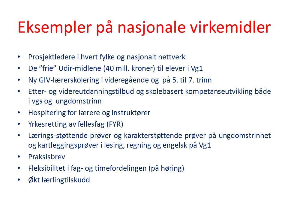 Eksempler på nasjonale virkemidler Prosjektledere i hvert fylke og nasjonalt nettverk De frie Udir-midlene (40 mill.