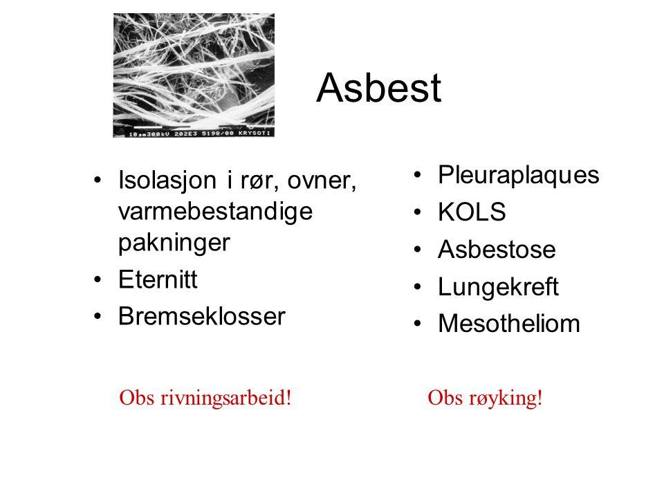 Asbest Isolasjon i rør, ovner, varmebestandige pakninger Eternitt Bremseklosser Pleuraplaques KOLS Asbestose Lungekreft Mesotheliom Obs rivningsarbeid