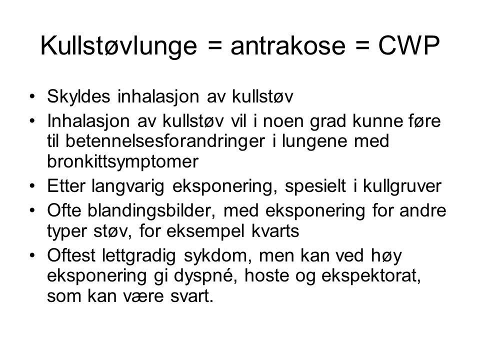Kullstøvlunge = antrakose = CWP Skyldes inhalasjon av kullstøv Inhalasjon av kullstøv vil i noen grad kunne føre til betennelsesforandringer i lungene