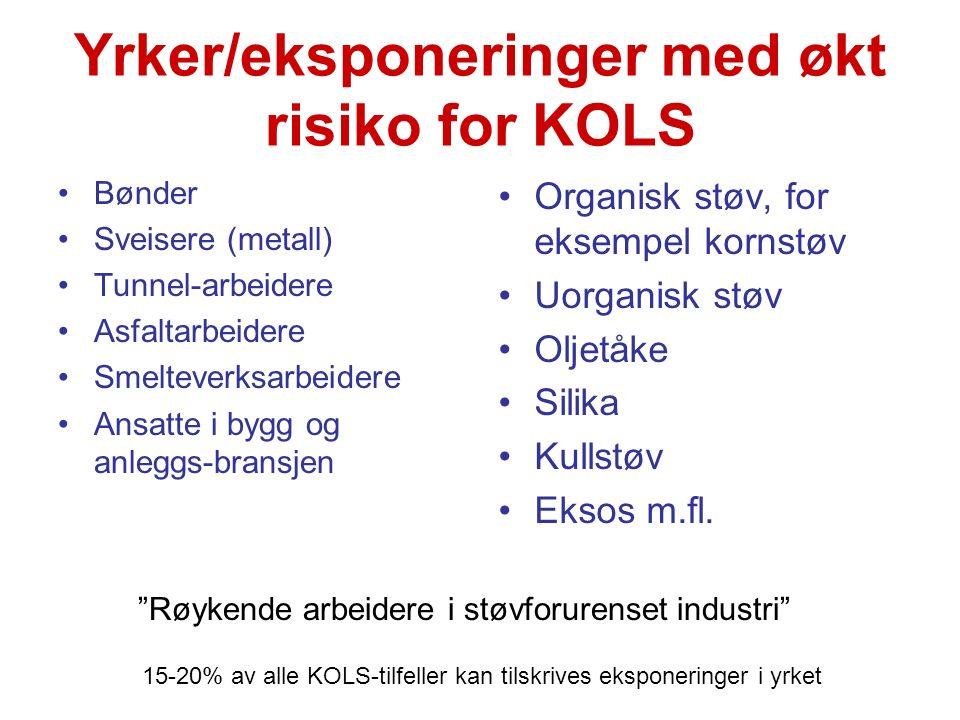 Yrker/eksponeringer med økt risiko for KOLS Bønder Sveisere (metall) Tunnel-arbeidere Asfaltarbeidere Smelteverksarbeidere Ansatte i bygg og anleggs-b