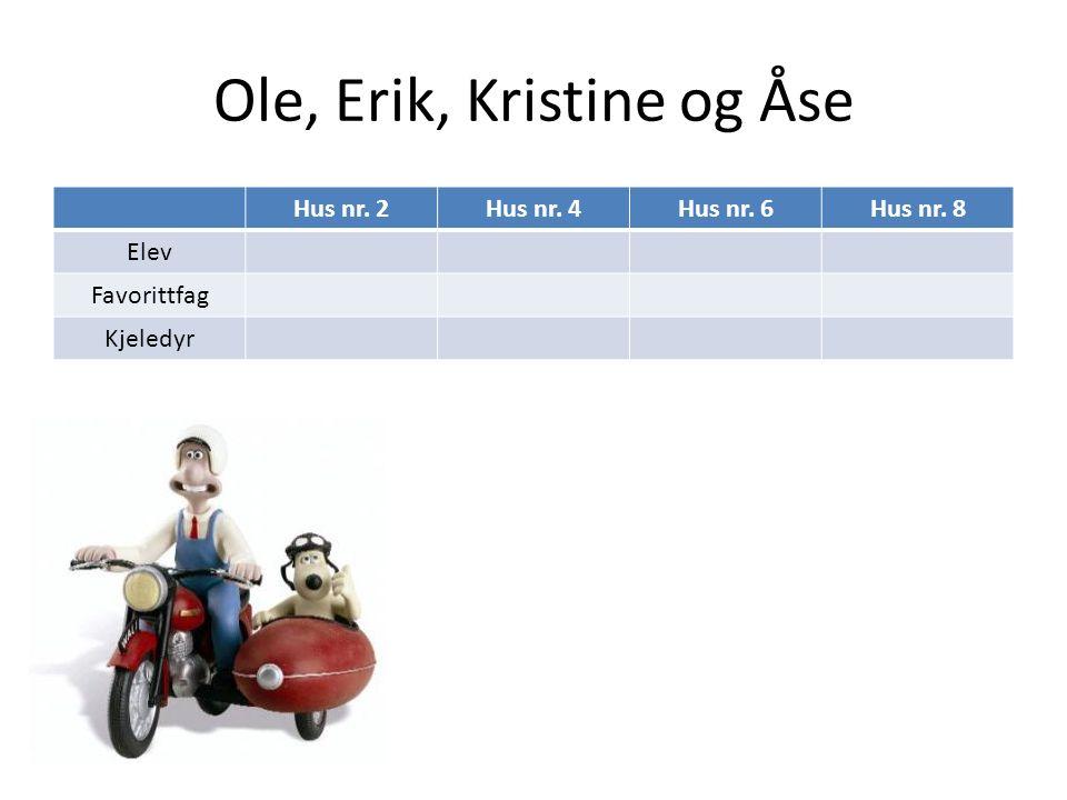 Ole, Erik, Kristine og Åse Hus nr. 2Hus nr. 4Hus nr. 6Hus nr. 8 Elev Favorittfag Kjeledyr