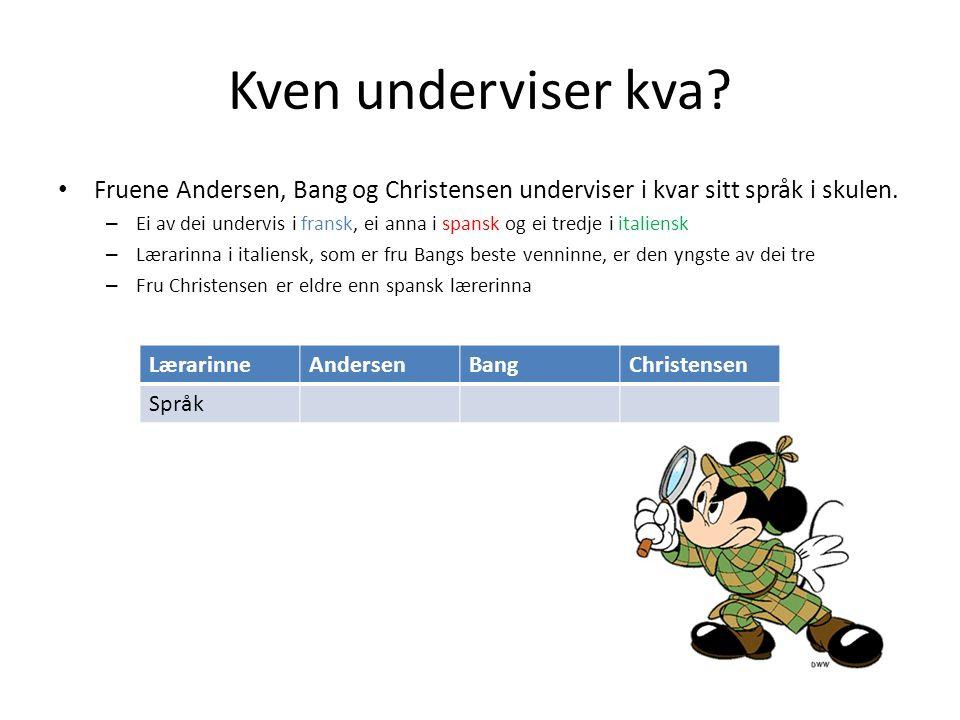 Kven underviser kva. Fruene Andersen, Bang og Christensen underviser i kvar sitt språk i skulen.