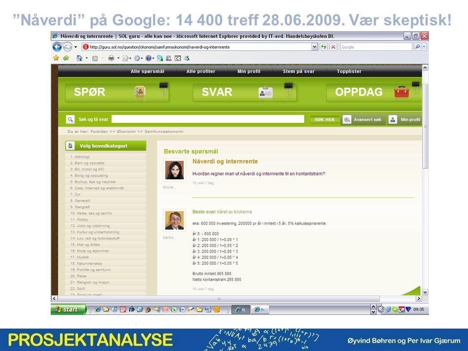 Nåverdi på Google: 14 400 treff 28.06.2009. Vær skeptisk!