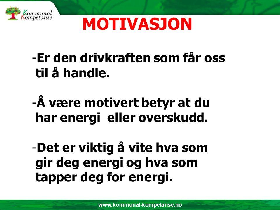 www.kommunal-kompetanse.no -Er den drivkraften som får oss til å handle. -Å være motivert betyr at du har energi eller overskudd. -Det er viktig å vit
