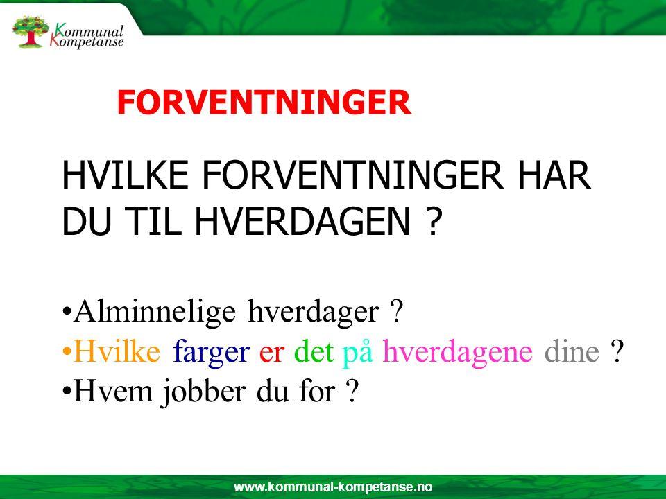 www.kommunal-kompetanse.no HVILKE FORVENTNINGER HAR DU TIL HVERDAGEN .
