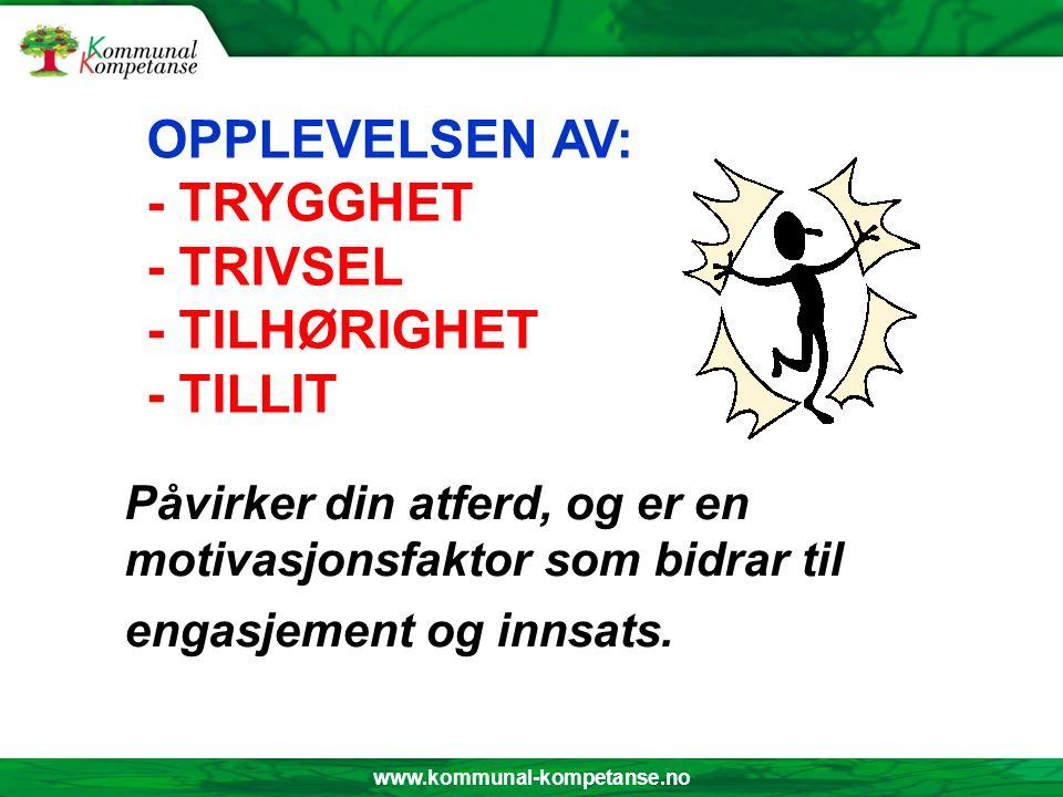 www.kommunal-kompetanse.no Påvirker din atferd, og er en motivasjonsfaktor som bidrar til engasjement og innsats. OPPLEVELSEN AV: - TRYGGHET - TRIVSEL