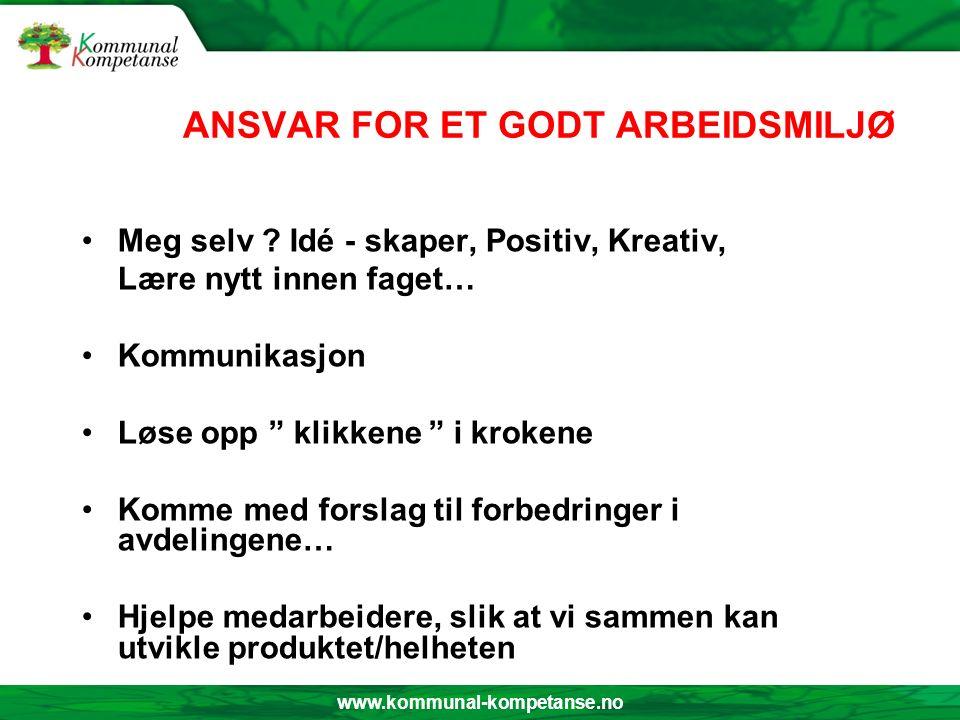 www.kommunal-kompetanse.no ANSVAR FOR ET GODT ARBEIDSMILJØ Meg selv .