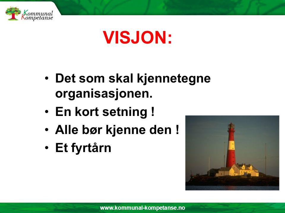 www.kommunal-kompetanse.no VISJON: Det som skal kjennetegne organisasjonen. En kort setning ! Alle bør kjenne den ! Et fyrtårn