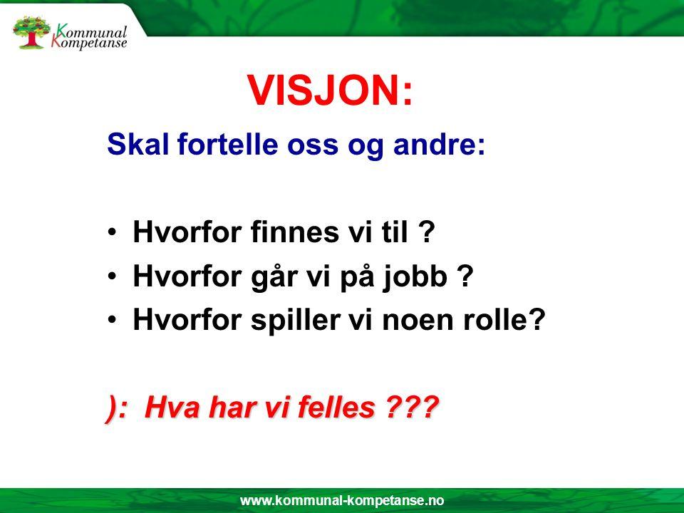 www.kommunal-kompetanse.no VISJON: Skal fortelle oss og andre: Hvorfor finnes vi til ? Hvorfor går vi på jobb ? Hvorfor spiller vi noen rolle? ): Hva