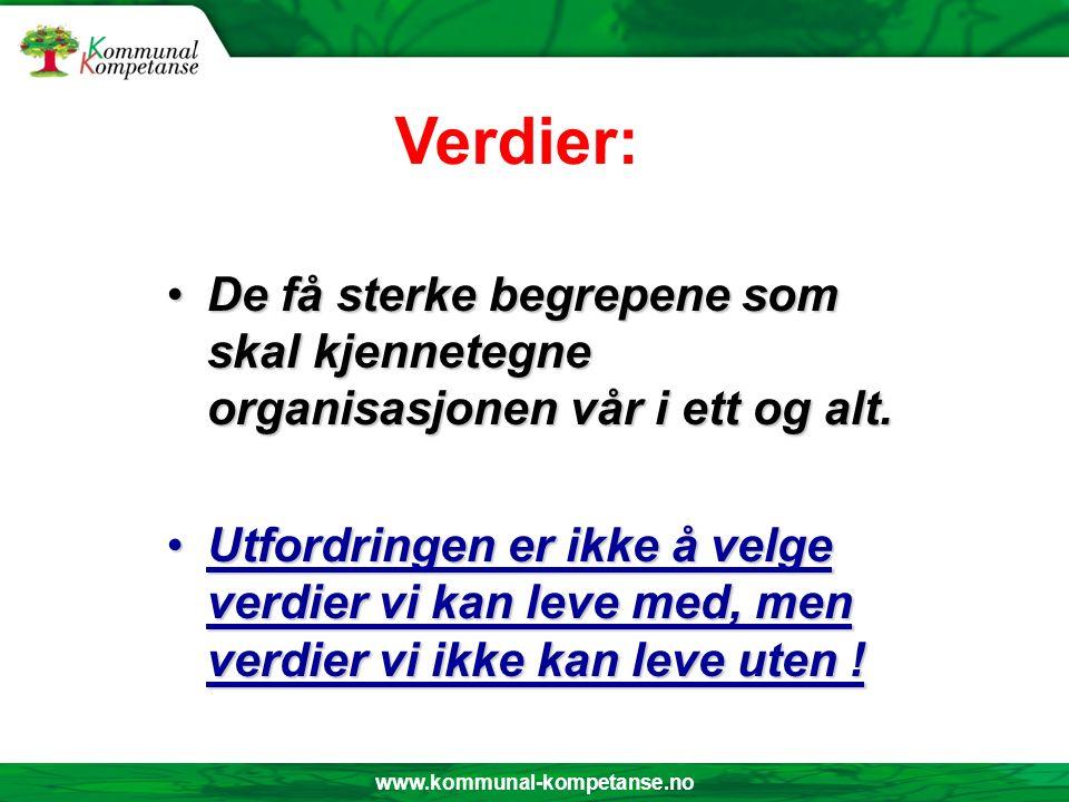 www.kommunal-kompetanse.no Verdier: De få sterke begrepene som skal kjennetegne organisasjonen vår i ett og alt.De få sterke begrepene som skal kjennetegne organisasjonen vår i ett og alt.