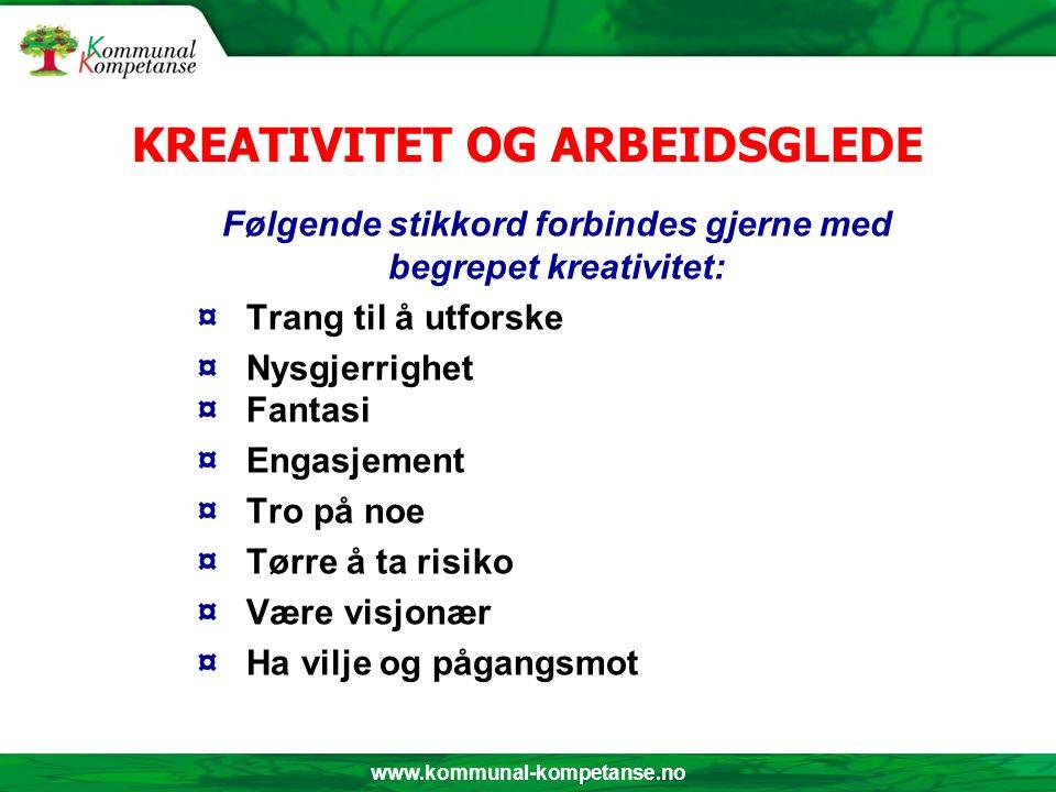 www.kommunal-kompetanse.no KREATIVITET OG ARBEIDSGLEDE Følgende stikkord forbindes gjerne med begrepet kreativitet: ¤ Trang til å utforske ¤ Nysgjerri