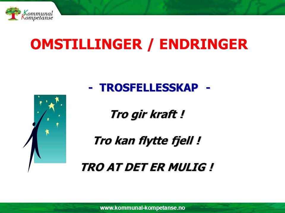 www.kommunal-kompetanse.no - TROSFELLESSKAP - - TROSFELLESSKAP - Tro gir kraft ! Tro kan flytte fjell ! TRO AT DET ER MULIG ! OMSTILLINGER / ENDRINGER