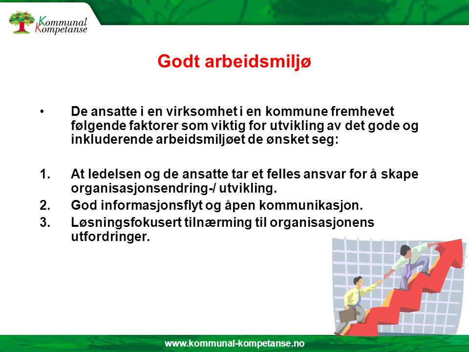 www.kommunal-kompetanse.no Godt arbeidsmiljø De ansatte i en virksomhet i en kommune fremhevet følgende faktorer som viktig for utvikling av det gode