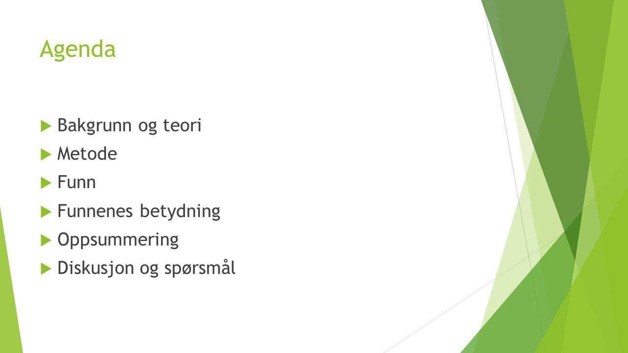 Agenda  Bakgrunn og teori  Metode  Funn  Funnenes betydning  Oppsummering  Diskusjon og spørsmål