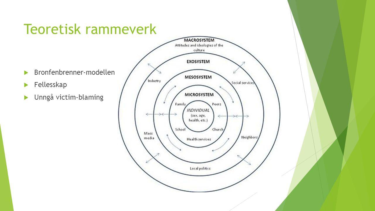 Teoretisk rammeverk  Bronfenbrenner-modellen  Fellesskap  Unngå victim-blaming