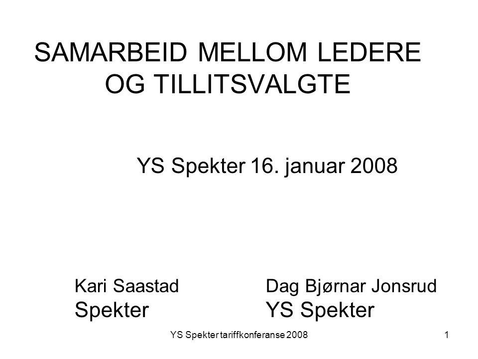 YS Spekter tariffkonferanse 20081 SAMARBEID MELLOM LEDERE OG TILLITSVALGTE YS Spekter 16. januar 2008 Kari Saastad Dag Bjørnar Jonsrud Spekter YS Spek
