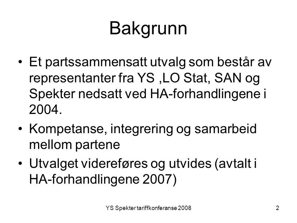 YS Spekter tariffkonferanse 20082 Bakgrunn Et partssammensatt utvalg som består av representanter fra YS,LO Stat, SAN og Spekter nedsatt ved HA-forhan