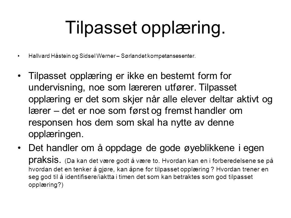 Tilpasset opplæring. Hallvard Håstein og Sidsel Werner – Sørlandet kompetansesenter.
