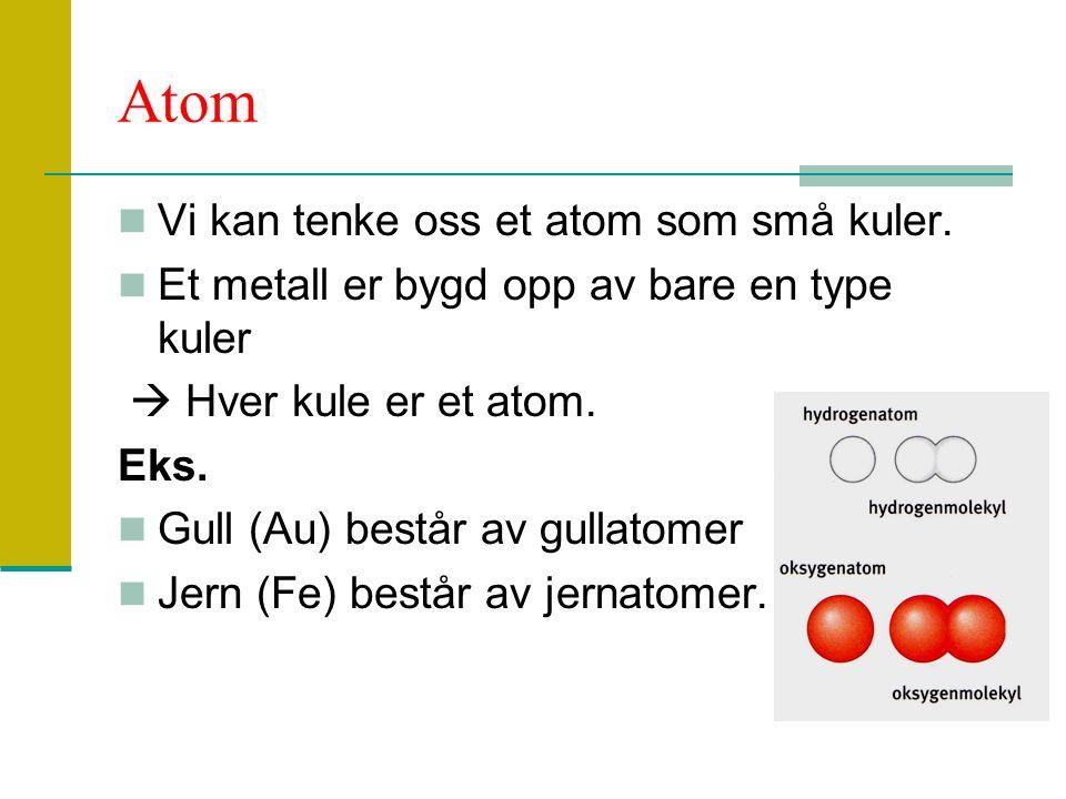 Atom Vi kan tenke oss et atom som små kuler. Et metall er bygd opp av bare en type kuler  Hver kule er et atom. Eks. Gull (Au) består av gullatomer J