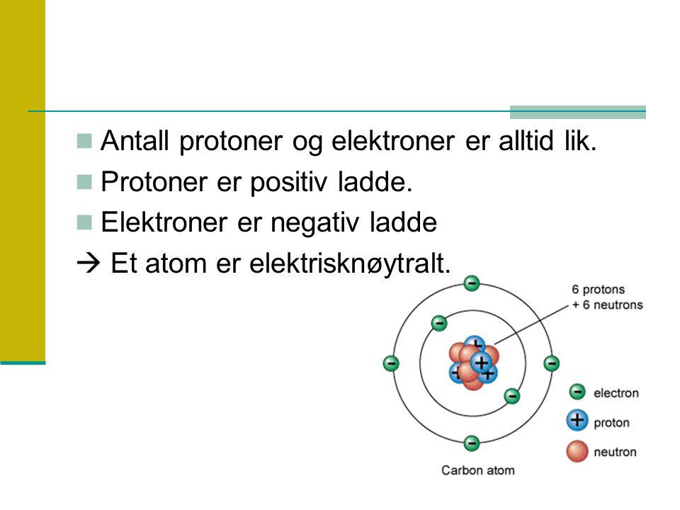 Antall protoner og elektroner er alltid lik. Protoner er positiv ladde. Elektroner er negativ ladde  Et atom er elektrisknøytralt.