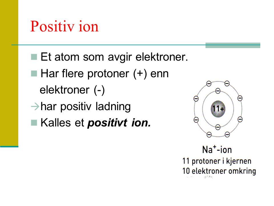 Positiv ion Et atom som avgir elektroner. Har flere protoner (+) enn elektroner (-)  har positiv ladning Kalles et positivt ion.