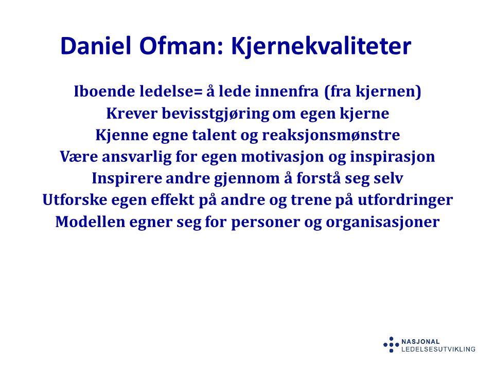 Daniel Ofman: Kjernekvaliteter Iboende ledelse= å lede innenfra (fra kjernen) Krever bevisstgjøring om egen kjerne Kjenne egne talent og reaksjonsmønstre Være ansvarlig for egen motivasjon og inspirasjon Inspirere andre gjennom å forstå seg selv Utforske egen effekt på andre og trene på utfordringer Modellen egner seg for personer og organisasjoner