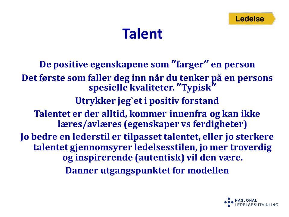 """Talent De positive egenskapene som """"farger"""" en person Det første som faller deg inn når du tenker på en persons spesielle kvaliteter. """"Typisk"""" Utrykke"""