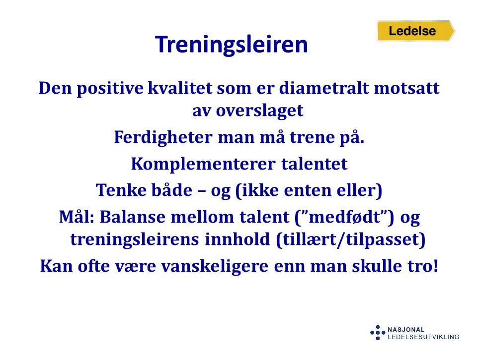 Treningsleiren Den positive kvalitet som er diametralt motsatt av overslaget Ferdigheter man må trene på. Komplementerer talentet Tenke både – og (ikk