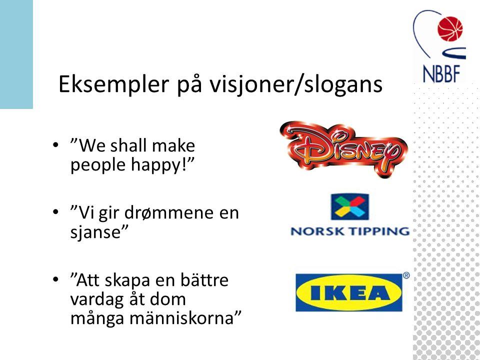 We shall make people happy! Vi gir drømmene en sjanse Att skapa en bättre vardag åt dom många människorna Eksempler på visjoner/slogans