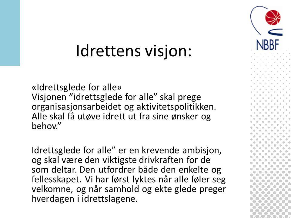«Idrettsglede for alle» Visjonen idrettsglede for alle skal prege organisasjonsarbeidet og aktivitetspolitikken.