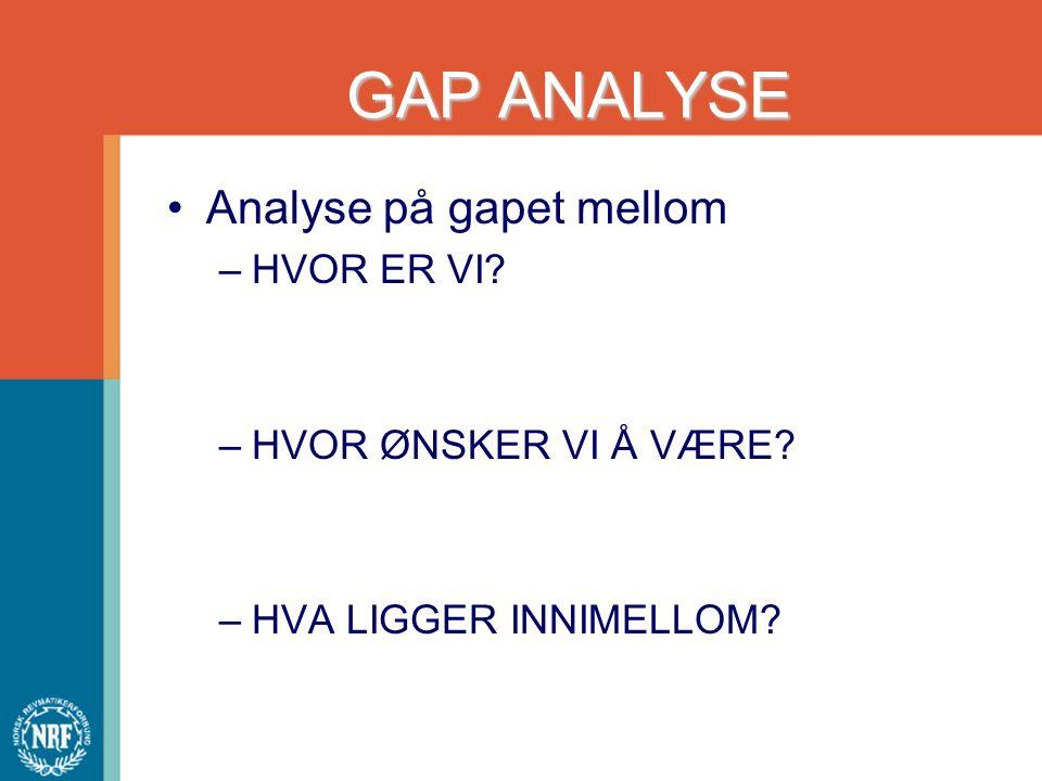GAP ANALYSE Analyse på gapet mellom –HVOR ER VI? –HVOR ØNSKER VI Å VÆRE? –HVA LIGGER INNIMELLOM?