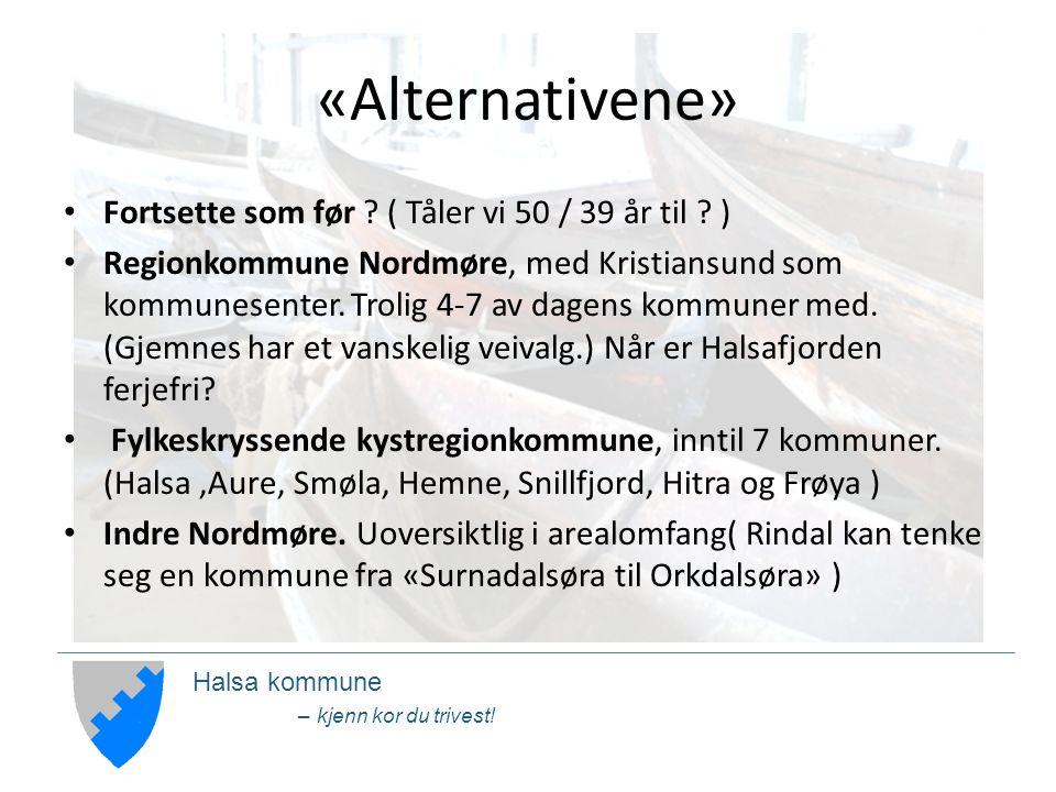 Halsa kommune – kjenn kor du trivest. «Alternativene» Fortsette som før .