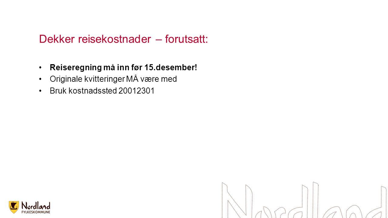 Dekker reisekostnader – forutsatt: Reiseregning må inn før 15.desember.